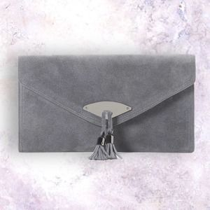 WHBM Genuine Gray Suede Tassel Clutch Wristlet